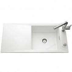 Évier de cuisine blanc brillant SIRO - L 1000 x l 490 x P 200 mm - sous-meuble 60 cm - Aquatop