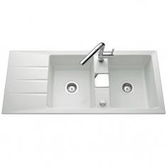 Évier de cuisine blanc brillant GENEA - L 1160 x l 510 x P 200 mm - sous-meuble 90 cm - Aquatop