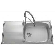 Évier de cuisine en Inox lisse Bologna - L 1 000 x l 500 x P 185 mm - sous-meuble 80 cm - Aquatop