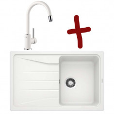 Pack évier Sona 45S L 780 x l 500 x P 190 mm + Mitigeur Mida-S - Blanc - Sous-meuble 45 cm - Blanco