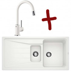 Pack évier Sona 6S L 1000 x l 500 x P 190 mm + Mitigeur Mida-S - Blanc - Sous-meuble 60 cm - Blanco