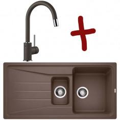 Pack évier Sona 6S L 1000 x l 500 x P 190 mm + Mitigeur Mida-S - Café - Sous-meuble 60 cm - Blanco