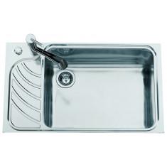 Évier de cuisine en Inox lisse avec égouttoir à droite - L 860 x l 510 x P 220 mm - sous-meuble 80 cm - Aquatop
