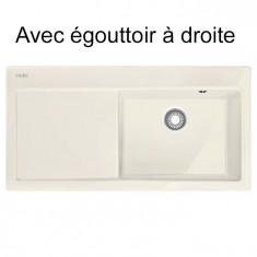 Mythos MTK 611-100 Céramique - Égouttoir Droite - Vanilla - 1000x510x190 mm - Sous-meuble 60 cm - Franke