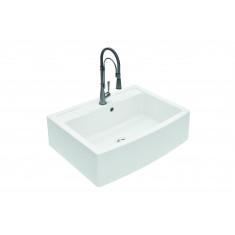 Évier de cuisine à poser en quartz ROYAL - L 880 x l 652 x P 254 mm - Blanc