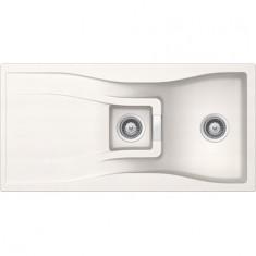 Évier de cuisine Cristadur Waterfall - 1000 x 500 x 184 mm - sous-meuble 60 cm - Coloris Polaris - Schock