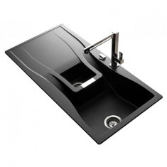 Évier de cuisine Cristadur Waterfall - 1000 x 500 x 184 mm - sous-meuble 60 cm - Coloris Magma - Schock