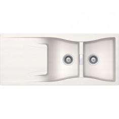 Évier de cuisine Cristadur Waterfall - 1160 x 500 x 184 mm - sous-meuble 80 cm - Coloris Polaris - Schock