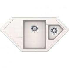 Évier de cuisine d'Angle Cristadur Signus - 1002 x 500 x 205 mm - sous-meuble 80 cm - Coloris Polaris - Schock