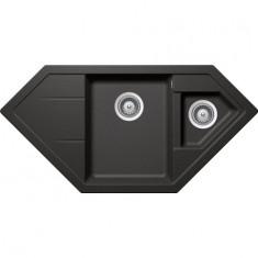 Évier de cuisine d'Angle Cristadur Signus - 1002 x 500 x 205 mm - sous-meuble 80 cm - Coloris Stone - Schock