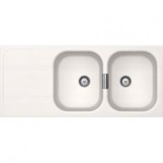 Évier de cuisine Cristadur Wembley - 1160 x 510 x 200 mm - sous-meuble 80 cm - Coloris Polaris - Schock