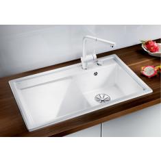 Évier en céramique Zenar 45S blanc cristal - sous-meuble 45 cm - L 860 x l 510 x P 185 mm - Égouttoir à gauche - Blanco