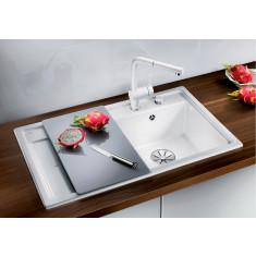 Évier en céramique Zenar 45S magnolia cristal - sous-meuble 45 cm - L 860 x l 510 x P 185 mm - Égouttoir à droite - Blanco