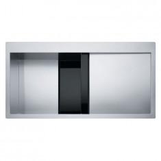 Evier Crystal Inox CLV214 - Verre noir/inox - égouttoir à droite - Franke 470216