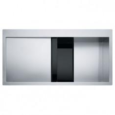 Evier Crystal Inox CLV214 - Verre noir/inox - égouttoir à gauche - Franke 470223