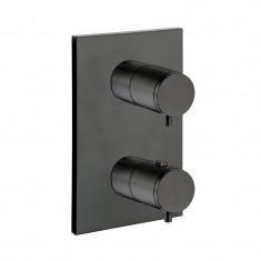 Façade thermostatique douche encastré TRIVERDE Blackmat (2 sorties) - Cristina Ondyna XT85213