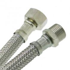 """Flexible sanitaire Inox Ø intérieur 8mm - Femelle 1/2"""" (15x21) / Mâle 1/2"""" (15x21) - longueur 30 cm"""