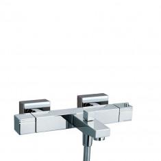 Mitigeur thermostatique bain-douche. Entraxe 150 mm. +/- 24mm. Saillie 195 mm. Poignées laiton. Blocage Tº38ºC. KUATRO