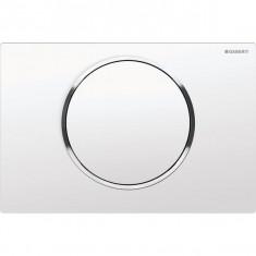 Plaque de déclenchement blanc et chromé Sigma10 pour rinçage interrompable - Geberit