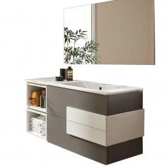 Meuble de salle de bain et miroir CRONOS 1205/G Anthracite / Blanc - Salgar