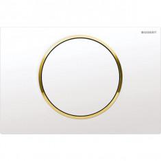 Plaque de déclenchement blanc et doré Sigma10 pour rinçage interrompable - Geberit