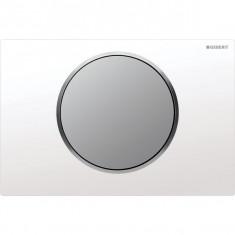 Plaque de déclenchement blanc et chromé mat Sigma10 pour rinçage interrompable - Geberit