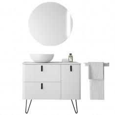 Meuble de salle de bain à pieds et miroir lumineux UNIIQ 900/D Blanc mat - Salgar