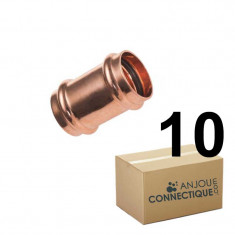 Lot de raccord cuivre à sertir - 10 Manchons Femelle Ø18