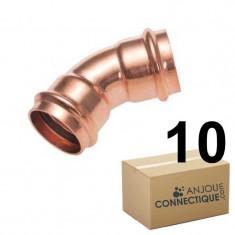 Lot de 10 raccords cuivre à sertir Courbes 45° Femelle/Femelle Ø12