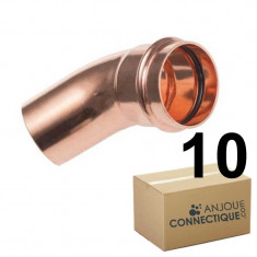 Lot de raccord cuivre à sertir - 10 Courbes 45° Mâle/Femelle Ø18
