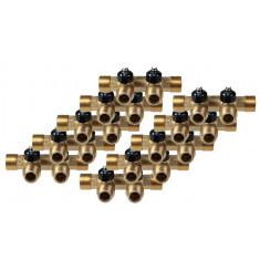 """Lot de 10 Collecteurs mini-vanne M/F 3/4"""" (20/27) - 1/2"""" (15/21) - 2 piquages M 1/2"""" (15/21)"""
