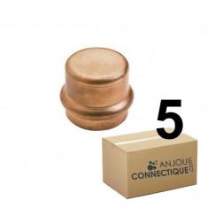 Lot de 5 raccords cuivre à sertir Bouchon Femelle Ø14