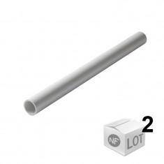 Lot de 2 Tubes PVC blanc NF diamètre 40 mm - 2 mètres - Nicoll