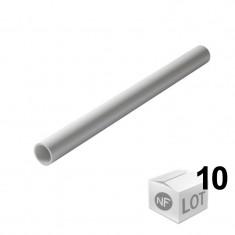Lot de 10 Tubes PVC blanc NF diamètre 40 mm - 2 mètres - Nicoll