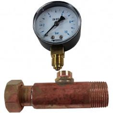 """Jaquette prise pression réseau eau Mâle 3/4"""" (20/27) - FL 3/4"""" (20/27) + Manomètre Radial 0/10 bars bain de glycérine Q01M34FL34 + Q04R10G - Arcanaute"""
