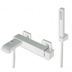 Robinet mitigeur Bain/douche avec douchette QUADRI Whitemat - Ondyna QM10024