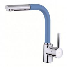 Mitigeur évier Chromé/Bleu TANER avec douchette - TAN12B