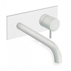 Façade lavabo mitigeur mural avec plaque laiton et bec long TRIVERDE Whitemat - Cristina Ondyna TV27824
