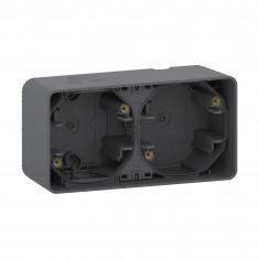 Mureva Styl - Boîte 2 postes horizontaux - montage saillie - IP55 - IK08 - gris
