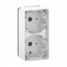 Mureva Styl - Boîte 2 postes verticaux - montage saillie - IP55 - IK08 - blanc