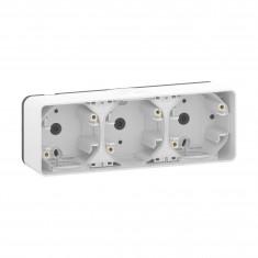 Mureva Styl - Boîte 3 postes horizontaux - montage saillie - IP55 - IK08 - blanc