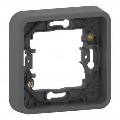 Mureva Styl - Cadre 1 poste - montage encastré - IP55 - IK08 - gris