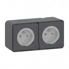 Mureva Styl - Double prise courant 2P+T - saillie - IP55 - IK08 - connexion auto - gris