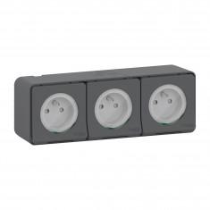 Mureva Styl - Triple prise courant 2P+T - saillie - IP55 - IK08 - connexion auto - gris