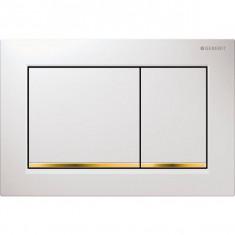 Plaque de déclenchement blanc, doré Omega30 pour rinçage double touche - Geberit