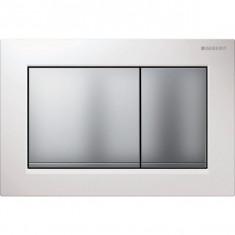 Plaque de déclenchement blanc, chromé mat Omega30 pour rinçage double touche - Geberit