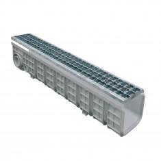 Pack Caniveau PP 130x1000 + grille caillebotis acier - Profondeur 200mm