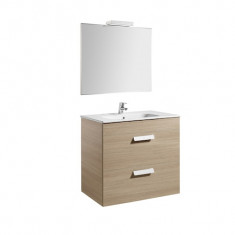 Pack Unik DEBBA 800 2 tiroirs, lavabo, miroir et applique LED