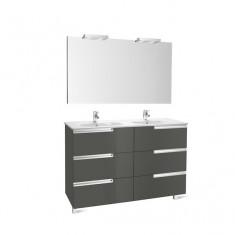 Pack Unik VICTORIA-N Family 1200 6 tiroirs, lavabo double, miroir et appliques LED