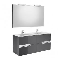 Pack Unik VICTORIA-N Family 1200 4 tiroirs, lavabo double, miroir et appliques LED